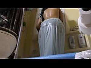 South Indian Maid Cleans and Showers hidden..